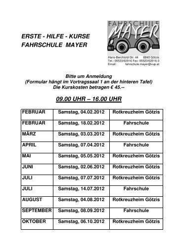ERSTE - HILFE - KURSE FAHRSCHULE MAYER 09.00 UHR ...