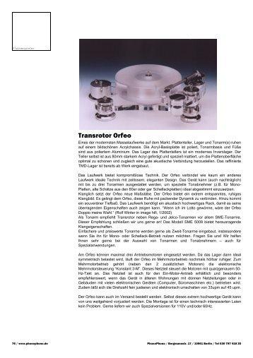 Transrotor Orfeo - PhonoPhono