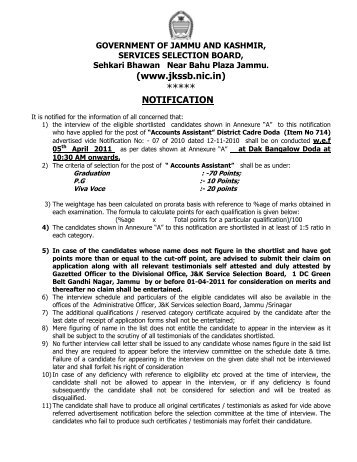 (www.jkssb.nic.in) NOTIFICATION - Official Website for J&K Services ...