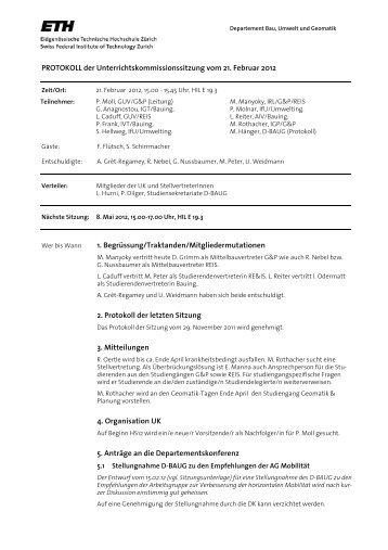 Sitzung 1/12 vom 21.02.12 - Departement Bau, Umwelt und Geomatik