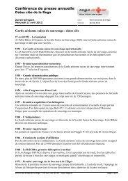 Dates clés de la Rega