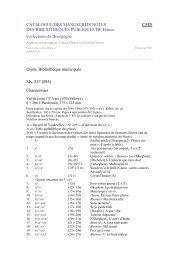 CATALOGUE DES MANUSCRITS NOTES DES BIBLIOTHEQUES ...