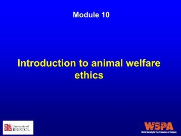 Introduction to animal welfare ethics - WSPA