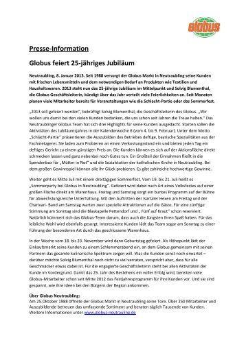 Presse-Information Globus feiert 25-jähriges Jubiläum
