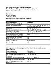 Nachmeldungen Rennen - Turnverein 1877 eV Essen-Kupferdreh