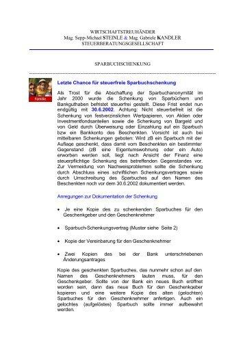 Schenkungsvertrag Magazine
