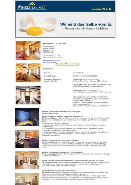 Archiv Newsletter Winter Frühling 2012 - Wimreiter Group