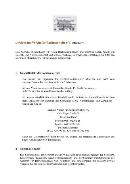 Seehaus Verein Für Rechtsanwälte Ev Rechtsanwaltskammer