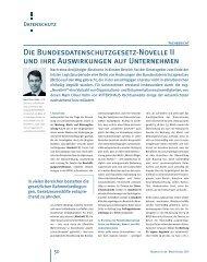 Die Bundesdatenschutzgesetz-Novelle II und ihre ... - Business & Law