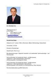 Curriculum Vitae Dr. Christian Imo