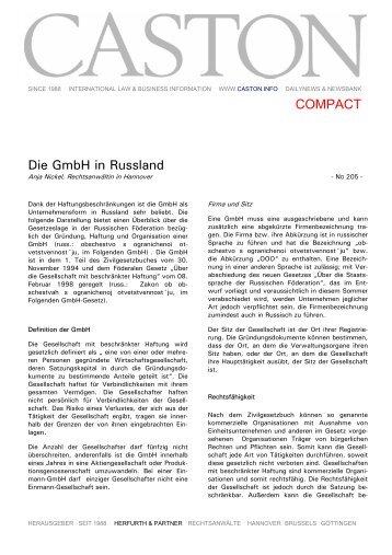 Die GmbH in Russland COMPACT - Herfurth & Partner