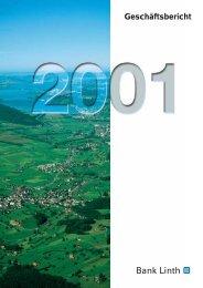 Bericht über das 153.Geschäftsjahr 2001 - Bank Linth