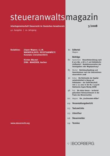 steueranwaltsmagazin 3 /2008 - Wagner-Joos Rechtsanwälte