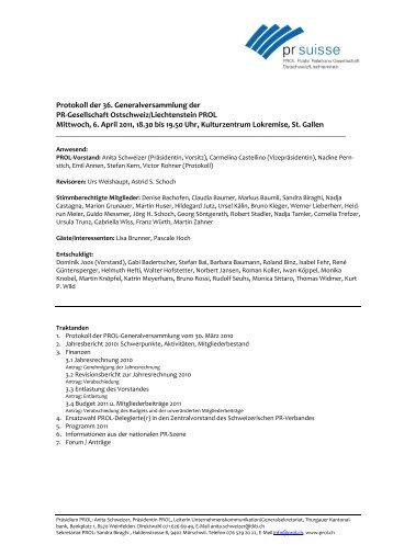 Protokoll PROL-GV 2011
