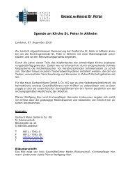 SPENDE AN KIRCHE ST.PETER - Gerhard Mann GmbH + Co. KG