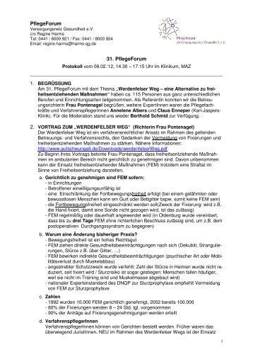 PflegeForum 31. PflegeForum - Versorgungsnetz Gesundheit eV