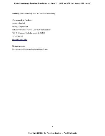 1 Running title: Cold Responses in Cultivated ... - Plant Physiology