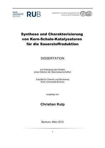 Synthese und Charakterisierung von Kern-Schale-Katalysatoren für ...