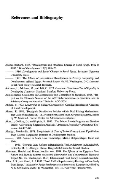 References and Bibliography - International Food Policy Research ...