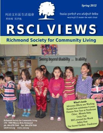 RSCL VIEWS Spring 2012 - Richmond Society for Community Living