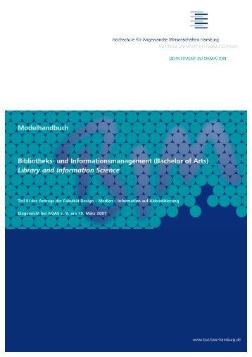 Modulhandbuch Bibliotheks - Department Information - HAW Hamburg