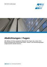 Abdichtungen / Fugen - AGI AG für Isolierungen
