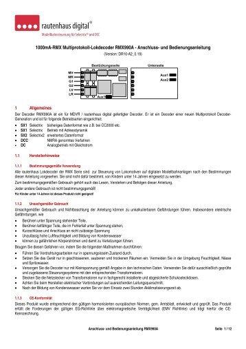 Anleitung RMX-Lokdecoder RMX990A - MDVR
