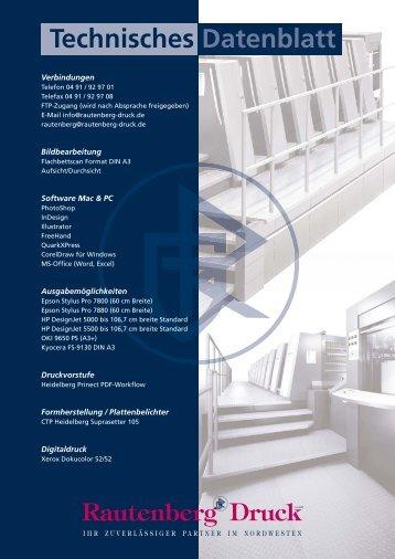 Technisches Datenblatt - Rautenberg-Druck