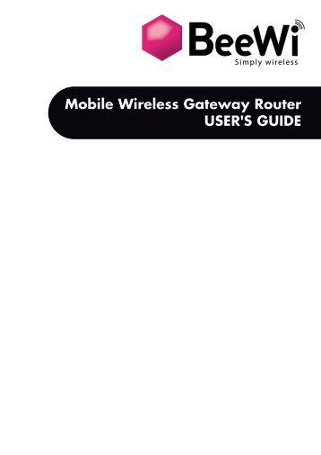 Mobile Wireless Gateway Router USER'S GUIDE - BeeWi