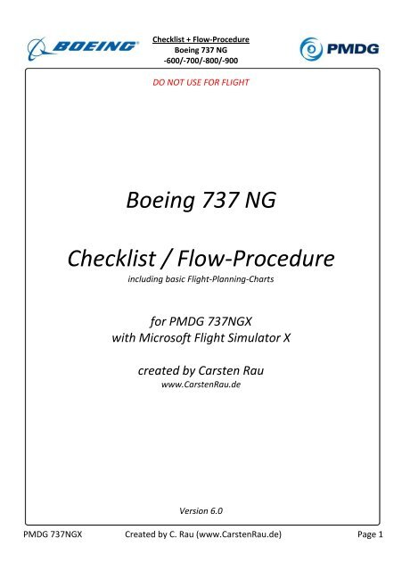 Boeing 737 NG Checklist / Flow-Procedure