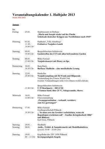Vorläufiger Veranstaltungskalender 1. Halbjahr 2013 - Stadt Pößneck