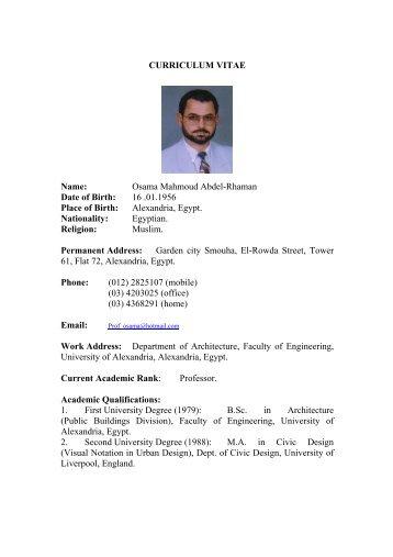 Curriculum Vitae - Faculty of Engineering