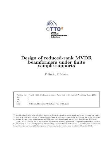 Design of reduced-rank MVDR beamformers under finite ... - CTTC
