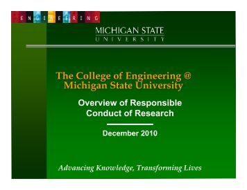 Responsible Conduct of Research (RCR) - College of Engineering ...