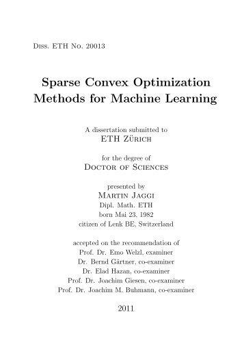 Sparse Convex Optimization Methods for Machine ... - Martin Jaggi