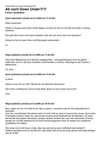 Ab nach Down Under?!?! - Studentenportal pruefungsgeil.de