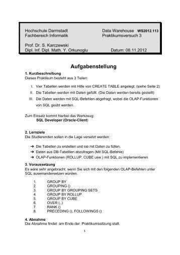 3. Praktiku - beim Fachbereich Informatik - Hochschule Darmstadt