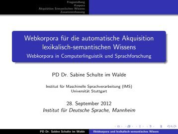 Webkorpora in Computerlinguistik und Sprachforsc - Institut für ...