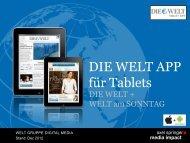 DIE WELT Tablet App auf einen Blick - Axel Springer MediaPilot