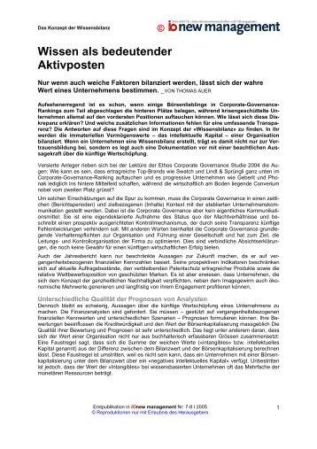 Wissen als bedeutender Aktivposten - Auer Consulting & Partner