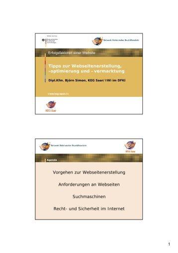 Tipps zur Webseitenerstellung, -optimierung und ... - KEG Saar