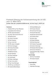 Protokoll Sitzung der Vollversammlung der LK OÖ vom 13. März 2012