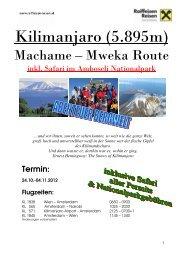 Detailprogramm Berg, Kilimanjaro 2012_02, fir - Raiffeisen Reisen