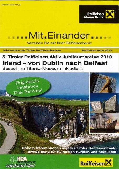 5. Tiroler Raiffeisen Aktiv Jubiläumsreise 2013 - Reisedienst ...