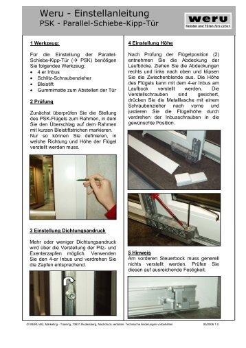 Weru - Einstellanleitung - Radtke Fenster