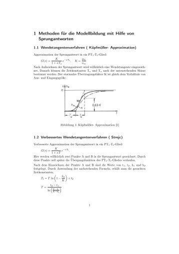 1 Methoden für die Modellbildung mit Hilfe von Sprungantworten