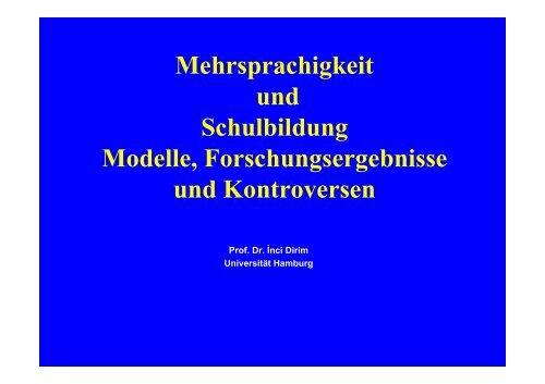 Mehrsprachigkeit und Schulbildung Modelle, Forschungsergebnisse ...