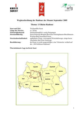 Wegbeschreibung der Radtour des Monats September 2009 Thema ...