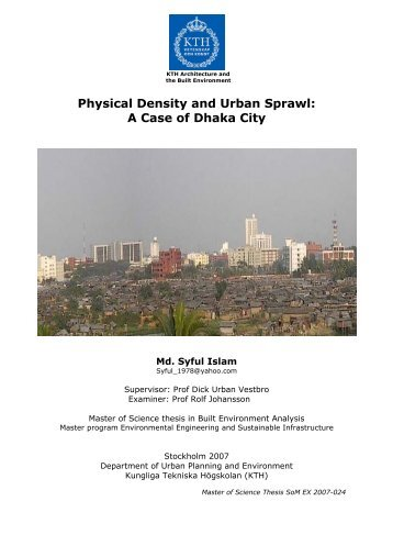 Physical Density and Urban Sprawl: A Case of Dhaka City - KTH