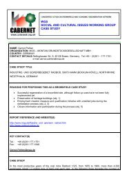 wg5 social and cultural issues working group case study - CABERNET